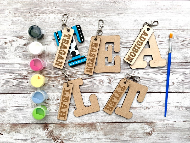 Paint Your Own Custom Initial and Name tag Keychain DIY image 0