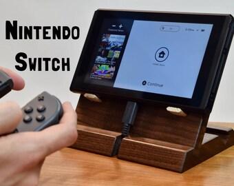 Nintendo Switch Dock - Adjustable Angle 45 or 30 degree - Handmade - Cherry or Walnut Wood Docking Station Stand