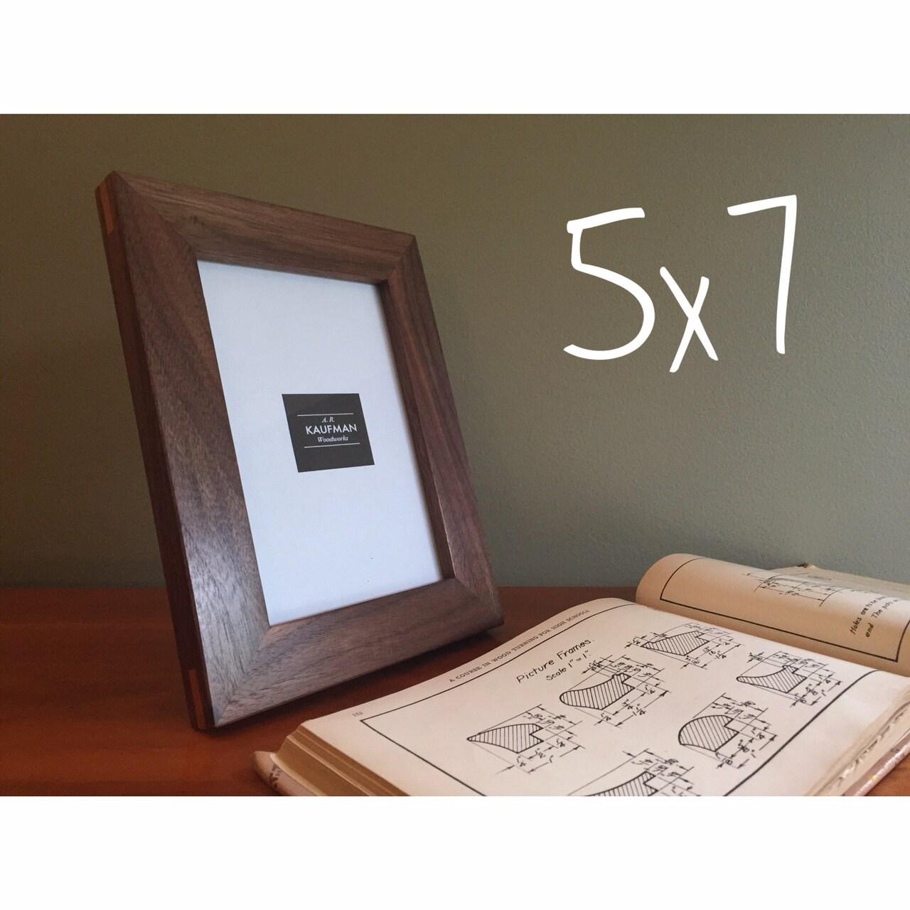 5 x 7 Holz Bilderrahmen Walnussholz mit Kirsche Splines   Etsy
