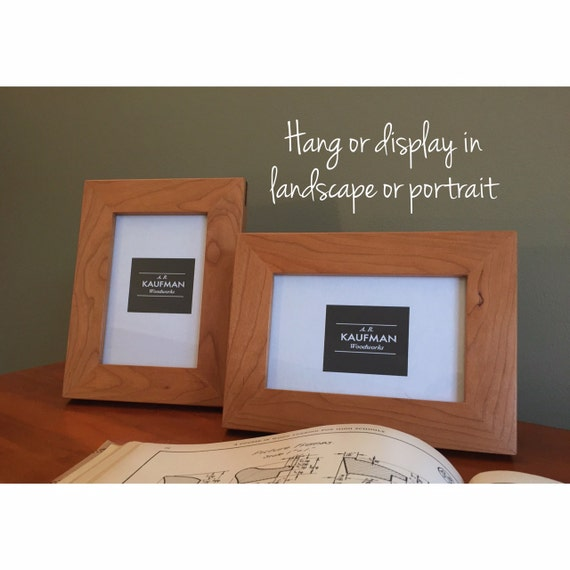 4x6 Handmade Picture Frame Cherry Wood With Walnut Splines Etsy