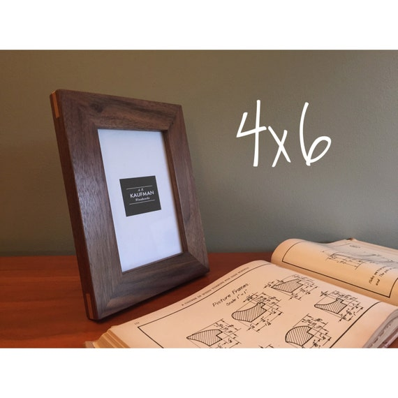 4x6 Wooden Picture Frame Walnut Wood With Cherry Splines Etsy