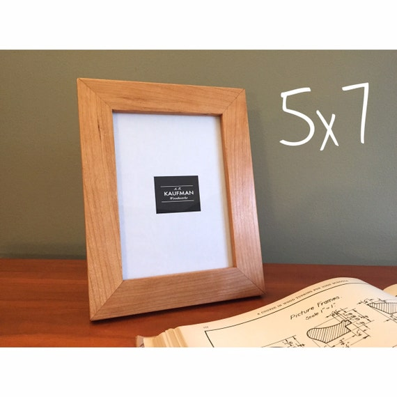 5x7 Wooden Picture Frame Cherry Wood With Walnut Splines Etsy