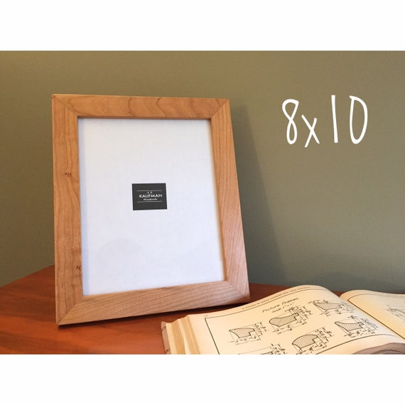 8x10 Wooden Picture Frame Cherry Wood With Walnut Splines Etsy