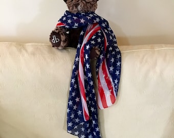Flag scarf , Patriotic crystal studded scarf,  4th of July red white and blue American flag