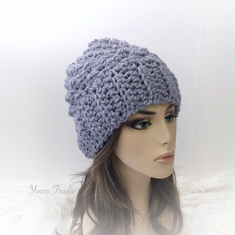 10490c76358 Violet Blue Chunky Crochet Toque Hat with Ribbed Band