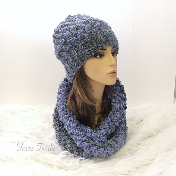 741c9da5baa Blue Ombre Crochet Hat and Infinity Scarf Set 2 piece Blue