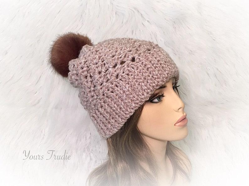 2c907ea9411 Heather Beige Crochet Hat with Faux Fur Pom Pom Oatmeal Beige