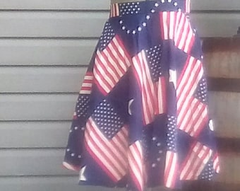 Patriotic circle skirt, red white and blue flag design, Cotton, Size Large, Side Zip