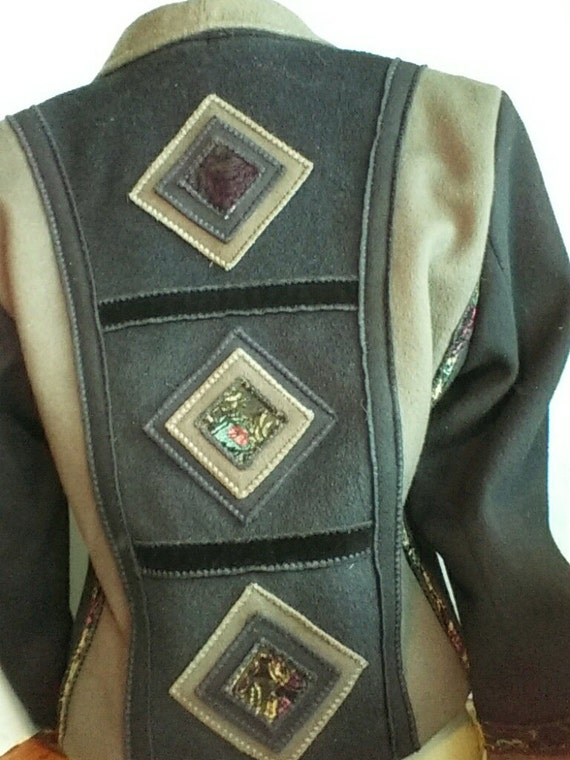Wool Cropped Multi Colored Jacket Olive And Black Velvet Etsy