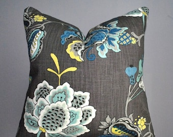 Grey Pillow Cover with blue aqua accent, Gray Aquamarine Floral cushions, Toss pillows, accent pillow covers