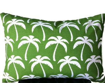 Outdoor Pillow Cover, Green pillow case, Throw pillow, Lumbar, 14 x 20 pillow cover
