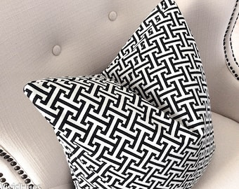 Throw Pillow Covers, Black White Pillow, Decorative Pillow Cover, Geometric Home Decor, Black white pillow cover,  Greek Key pillow, Pillow