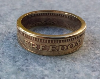 Freedom Token Ring Size 9.5 Double Sided Handcrafted