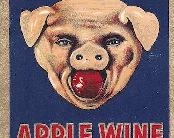 Wine Label Vintage HOGHEAD BRAND Apple Wine Label Vintage 1950's