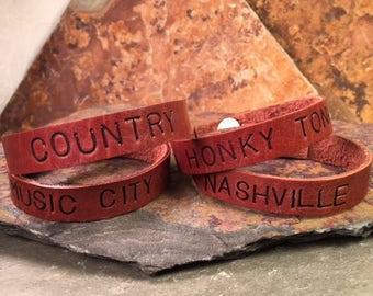 Brown Leather Bracelet ~ Country, Nashville, Music City, Honky Tonk ~ Skinny Cuff Handmade Girls Boys Man Woman Most Popular Item Souvenir