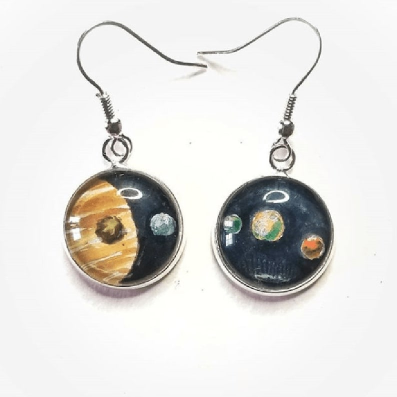 Jupiter earrings. Jupiter and 5 of its moons Hand-painted in image 0