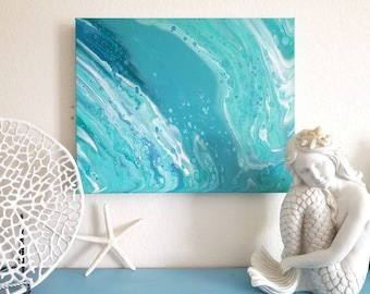 Abstract art flow painting, waterfall or ocean wave fluid wall decor.  Blue, teal, turquiose, green, and aqua with white. Acrylic on canvas