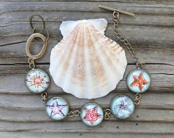 Starfish Bracelet, Sea Star Bracelet. Hand-Painted Wearable Art Bracelet or Necklace, Watercolor and ink. Starfish Jewelry, Sea Star jewelry
