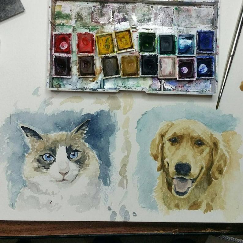 Pet Portrait in Watercolor. Dog cat horse parrot etc. image 0
