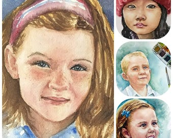 Watercolor portrait, Realistic watercolor painting from photo, child, family, couple, and more, free US shipping.