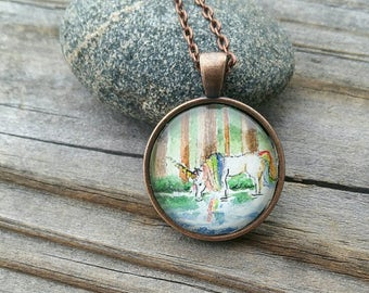 Unicorn necklace. Hand-Painted - Watercolor rainbow unicorn necklace - Unicorn gift - Rainbow unicorn in redwood forest wearable mini art