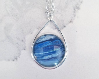 Hand-painted blue abstract pendant necklace in silver-plated, planet or ocean Wearable art acrylic painting Pantone 2020 color of the year