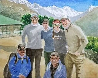 Family portrait or Group Photo painting. Watercolor original art painted by hand from your photograph