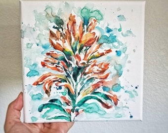 Indian paintbrush abstract floral watercolor painting on gallery wrapped canvas, 8x8 Original square wall art. Prairie fire wildflower