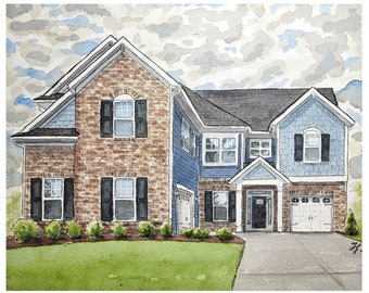 House Portrait. Watercolor painting of your home or business from a photo. Moving or closing gift, ornament or pendant + Plane, boat or Auto