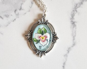 Sego Lily Hand-painted watercolor miniature painting in a silver-plated pendant necklace. Utah State flower floral jewelry gift