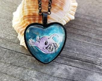 Anglerfish necklace. Hand painted angler fish, wearable art, quirky gift,  watercolor anglerfish, nautical jewelry, anglerfish gift
