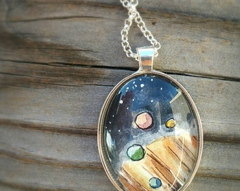 Jupiter necklace, Jupiter and its moons, Planet Jupiter and 4 moons hand-painted watercolor miniature painting original wearable art pendant