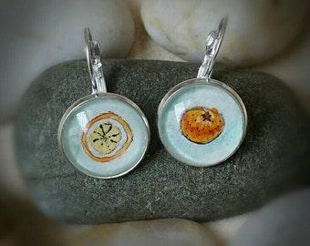 Oranges Earrings. Orange fruit earring, hand-painted in watercolor, silver-plated earrings.  Wearable art, fun earrings gift for her.