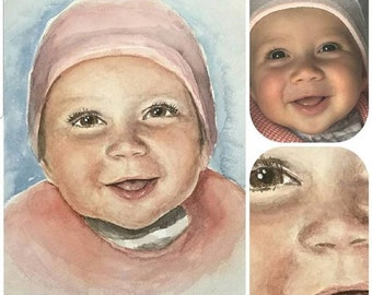 Baby painting. Baby, newborn or toddler watercolor portrait from photo, painted by hand in professional watercolor on fine art paper
