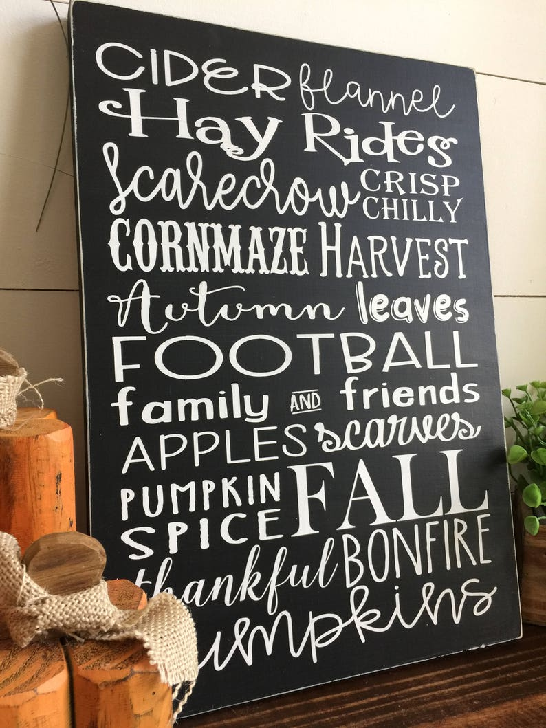 Fall Subway Wood Sign Subway Art Painted Sign Pumpkin Sign image 0