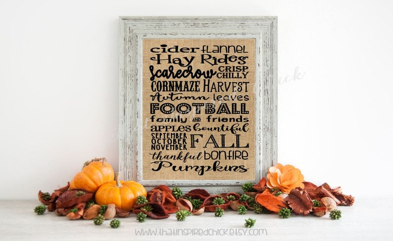 Fall Decor Burlap Print  Fall Subway Art  8x10 Farmhouse image 0
