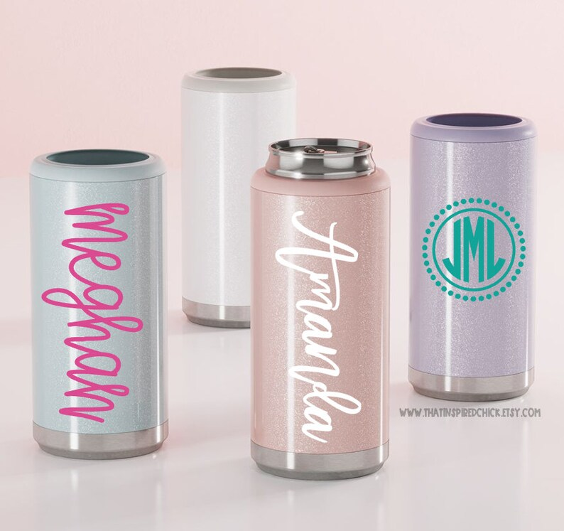Personalized Skinny Can Cooler 12oz Stainless Steel Can image 0