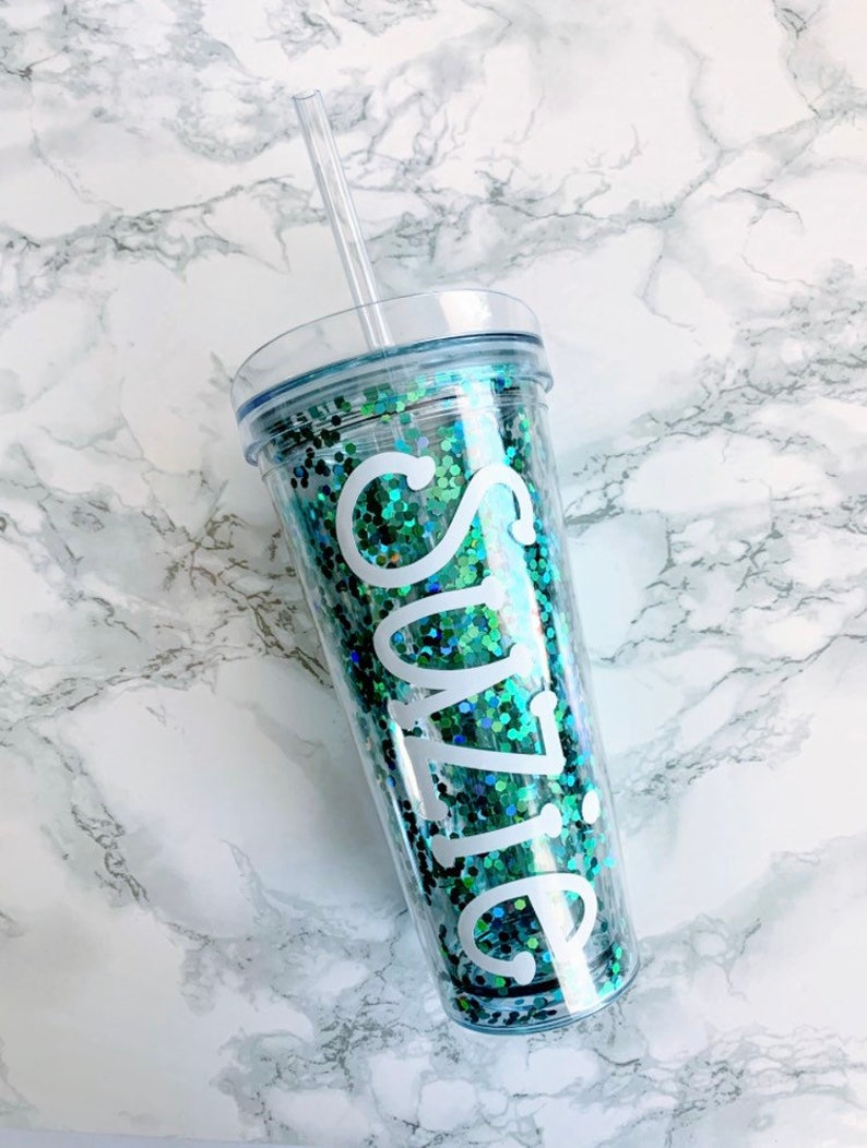 Personalized Turquoise Confetti Glitter Tumbler Teal Glitter image 0