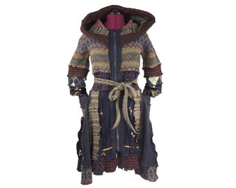 """Chop Suey"""" - Size L-XL - Upcycled Sweater Coat - Recycled Hooded Sweater - Upcycled Clothing - OOAK - Patchwork Sweater Coat"""