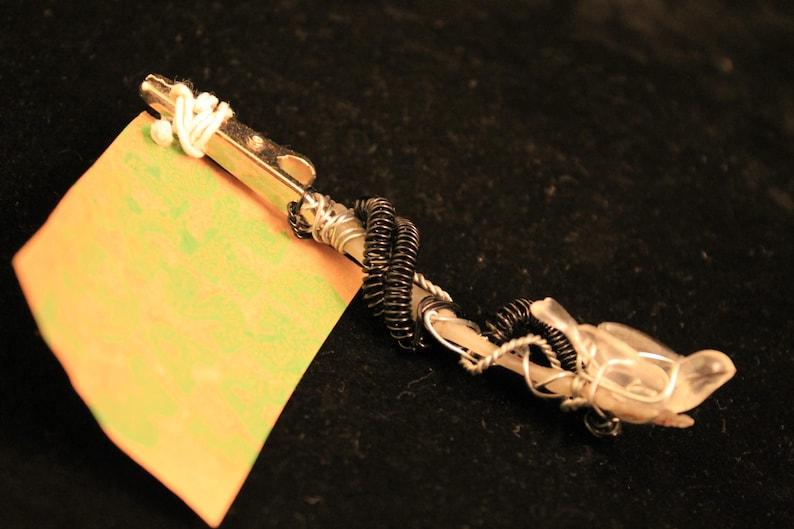 Dread Clip Rusty Bones Skeleton Hand Holding Bird Wire Wrap Glow In Dark!