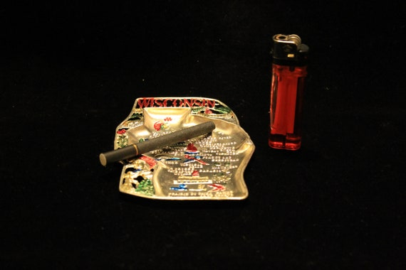 Will Wisconsin Become Ashtray Of >> Vintage Metal Wisconsin Shaped Ashtray Travel Souvenir Etsy