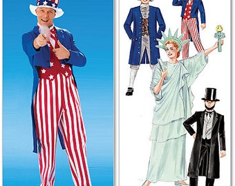 McCallu0027s Costumes sewing pattern M6143 Patriotic Costume Uncle Sam Statue of Liberty Abe Lincoln Etc. Adults and Kids - new and uncut  sc 1 st  Etsy & Patriotic costume | Etsy