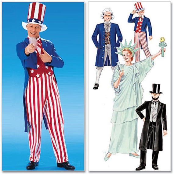 McCallu0027s Costumes sewing pattern M6143 Patriotic Costume Uncle Sam Statue of Liberty Abe Lincoln Etc. Adults and Kids - new and uncut from ...  sc 1 st  Etsy Studio & McCallu0027s Costumes sewing pattern M6143 Patriotic Costume Uncle Sam ...