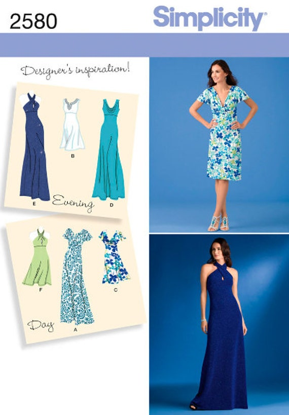 Simplicity Sewing Pattern 2580 Knit Dress Dresses 2 Lengths Etsy