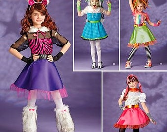 Simplicity Halloween Costume sewing pattern 1350 Girls Hip Vampire, Trendy Monster, Sassy Wolf, or Quirky Doll - new and uncut