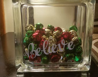 believe christmas glass block christmas decor believe glass block christmas decorations jingle bells holiday decor teacher gift