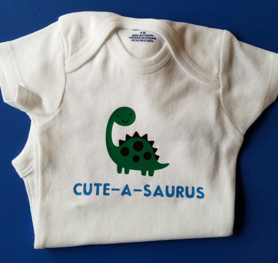 eb93aa44a Cute-a-saurus Dinosaur Baby Clothes Funny Baby Baby Shower | Etsy