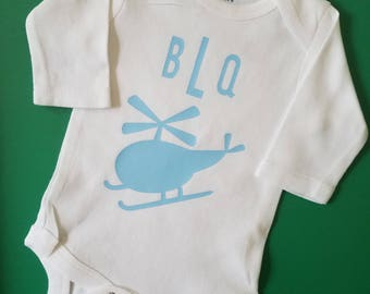 Personalized Helicopter Baby Clothes, Pilot Baby, Aviator, Air Force, Helicopter Baby, Helicopter Pilot Baby, Monogrammed Baby Clothes, Baby