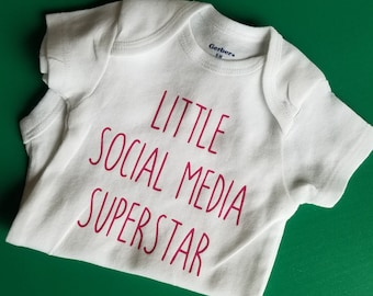 Little Social Media Superstar, Funny Baby, Social Media Baby Clothes, Pregnancy Gift, Social Media Baby, Gender Neutral Baby Clothes, #