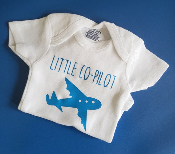 Pilot and co-pilot Father t-shirt and baby long sleeve baby grow bodysuit set.